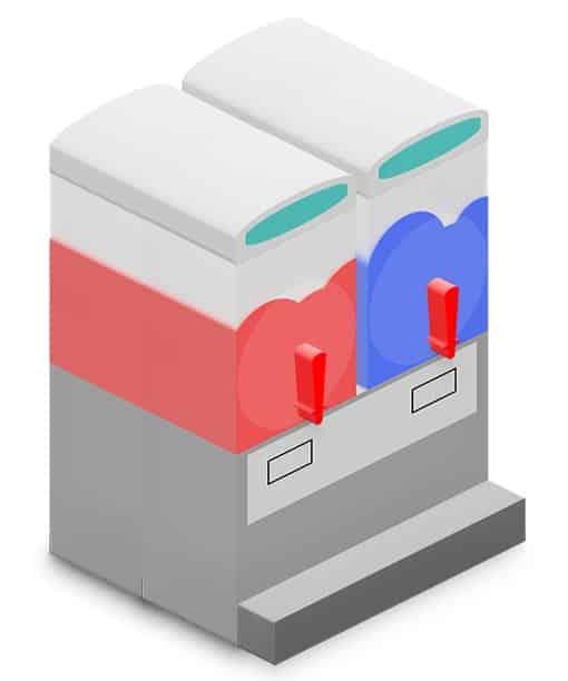slush ice maskine med 2 beholdere